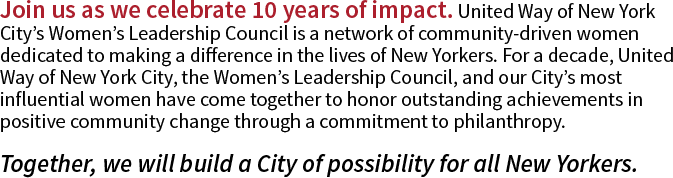 Join us as we celebrate 10 years of impact. United Way of New Y